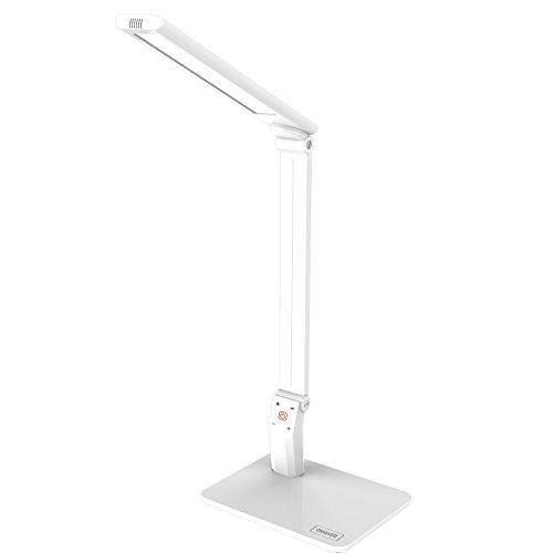 Omaker LEDデスクライト 細かい角度調整と5段階調光可能な仕事・読書ランプ(アルミ二ウム製アーム/USB充電ポート搭載/タッチセンサー) ホワイト