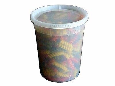 Pactiv / Newspring 32 oz. (Quart Size) Plastic Freezer Food Storage Deli Soup Container Tubs w/Lids (pack of 24)