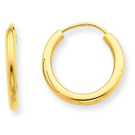 14k Yellow Gold Endless Hoops Hoop Earrings 0.59 Inches (15mm) Outer Diameter 2mm Tube