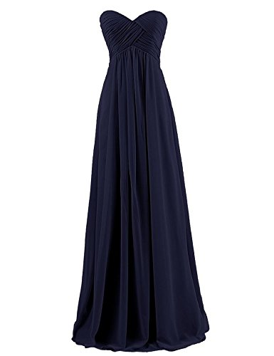 Ouman Sweetheart Bridesmaid Chiffon Prom Dress Long Evening Gown Navy S