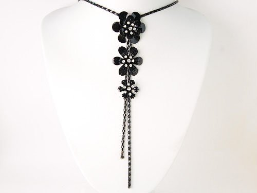 Black Chain Metal Flower Trio Genuine Crystal Rhinestone Tassel Fashion Necklace