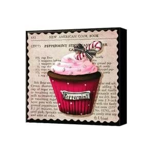 Peppermint Stick Christmas Cupcake Canvas Print / Canvas Art - Artist Catherine Holman