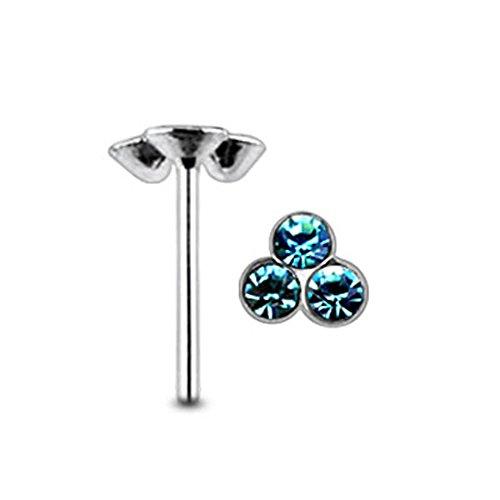 Aquamarine Triple Gem Sterling Silver Straight Nose Pin Body Jewelry