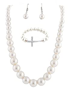 Ladies Ivory Pearl Style Necklace Earrings and Matching Cross Bracelet Jewelry Set