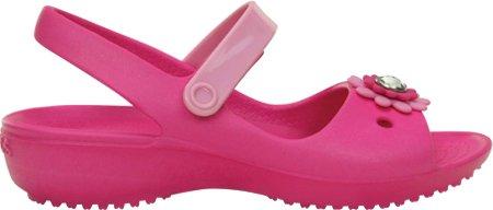 crocs Keeley Mini Wedge Girls PS Sandal (Toddler/Little Kid),Neon Magenta/Carnation,13 M US Little Kid