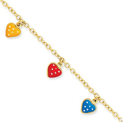 Jewelry Locker 14k Yellow Gold and Enameled Heart Adjustable Child Bracelet