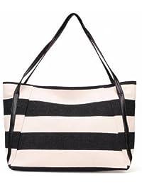 Retro Navy Striped Canvas Single-shoulder Bag