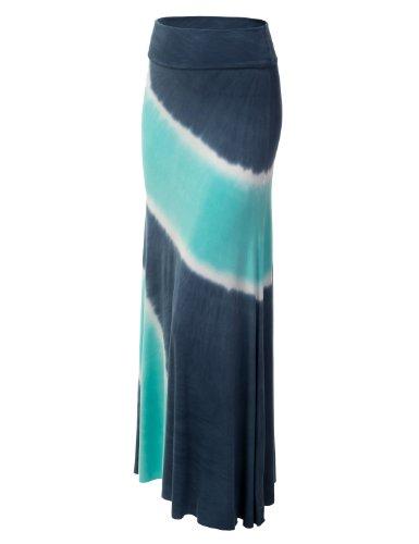 J.TOMSON Women's Basic Foldover Jersey Maxi Skirt SMALL NAVY