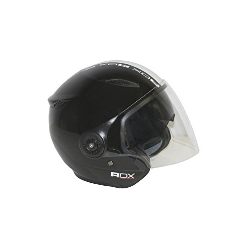 CASQUE JET ADX DESIGN BRILLANT NOIR-BLANC S (DOUBLE ECRANS)