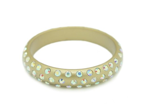 Baby Austrian Crystal Lucite Bangle Bracelet- GOLD