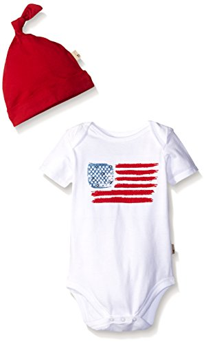 Burt's Bees Baby Baby American Flag Organic Bodysuit and Hat Set, Cloud, 0-3 Months