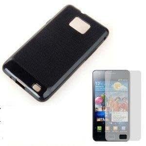 Neewer New Black Soft TPU Gel Case For Samsung Galaxy S2 i9100 + 2x Screen Protector