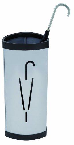 Alba Triangular Umbrella Stand, Metallic Gray with Black Plastic Trim (PMTRIA2M)