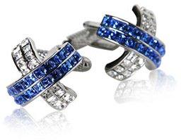 Silver Blue Crystal Cross Cufflinks with Presentation Box