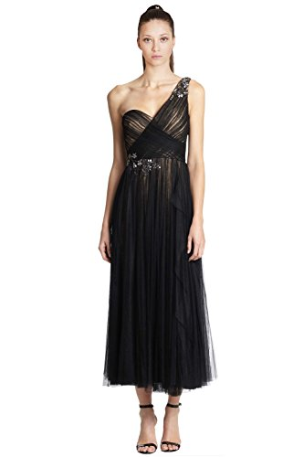 Marchesa Notte Embroidered One-Shoulder Tulle Cocktail Dress