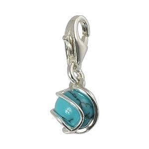 SilberDream Charms - Charm Boule Turquoise pierre en argent grille pour charmes colliers bracelets boucles d'oreilles - Argent 925 Sterling - FC250T