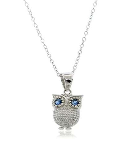 Diamonere Blue-Eyed Owl Pendant Necklace, Gold As You See