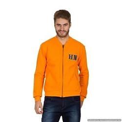 Hypernation Orange Color Long Sleeves Printed Sweatshirts For Men