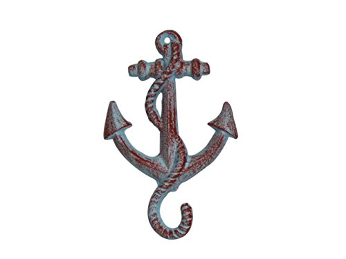 Hampton Nautical  Rustic Red Whitewashed Decorative Cast Iron Anchor Wall Hook - Rustic Wall Art, 5""