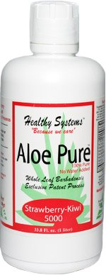 Aloe Pure 5000 Best Tasting Organic Aloe Vera Juice Drink - Strawberry-Kiwi Flavor