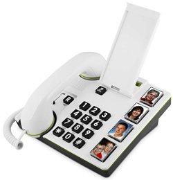 doro MemoryPlus 319ph, Schnurgebundenes Großtastentelefon mit 4 Direktwahl-Fototasten und optischer Anrufsignalisierung, weiß
