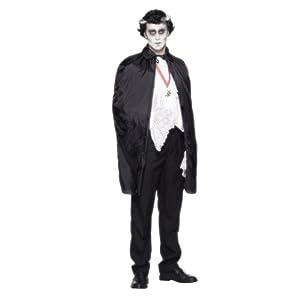 Halloween Fancy Dress Costume Dracula Vampire Cape Mens by SMIFFYS
