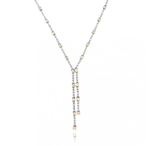Bling Jewelry Sterling Silver Two Tone CZ Double Strand Lariat Necklace