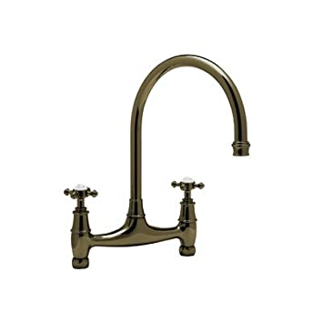 Rohl U.4790X-EB-2 Perrin & Rowe Bridge Kitchen Faucet English Bronze Cross