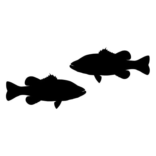Amazon.com - Two opposing silhouettes of a LARGEMOUTH BASS ...