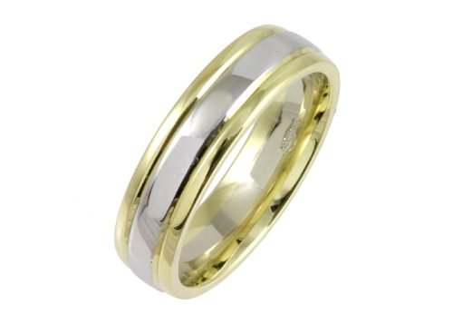 Wedding Ring, 9 Carat Yellow  &  White Gold Court Shape, 4mm Band Width