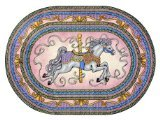 "Joy Carpets Kid Essentials Infants & Toddlers Oval Carousel Rug, Pink, 5'4"" x 7'8"""