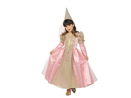 Girls Maid Marion Princess Pink/Gold Gown w/Renaissance Hat