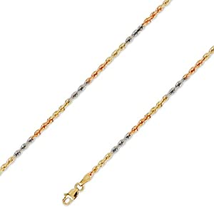 14K Solid TriColor Gold DC Diamond Cut Rope Chain Necklace 2.5mm (3/32 in.) 24 in.