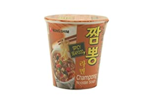 Nong Shim Champong Noodle Soup Cup (Spicy Seafood Flavor) - 3.03oz - 95g (Pack of 6 cups)