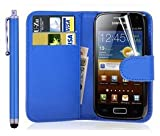 New Leather Wallet Flip Case Cover Pouch for Samsung Galaxy ACE 2 II GT-i8160 WITH FREE SCREEN GUARD + STYLUS PEN (Blue)