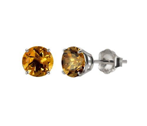 10k White Gold Round Citrine Gemstone Earring Studs (6mm, 1.50 cttw)