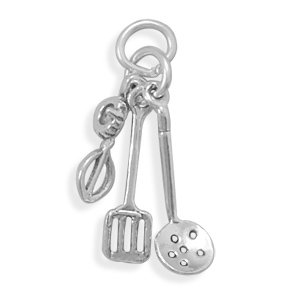 Sterling Silver Charm Pendant Kitchen Utensils 3d Egg Beater Straining Spoon Spatula