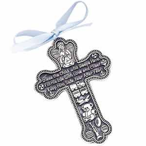 "Bless The Child - GUARDIAN ANGEL Baby BOY Crib Cross 4"" PEWTER Medal/CHRISTENING/BABY SHOWER GIFT/Baptism KEEPSAKE/with BLUE RIBBON/GIFT BOXED"