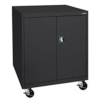 "Sandusky Lee TA2R462442-09 Steel Transport Mobile Storage Cabinet, 2 Adjustable Shelves, 48"" Height x 46"" Width x 24"" Depth, Black"