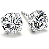 niceeshop(TM) 1 Pair Sterling Silver 6MM Round Cubic Zirconia Anti allergic Crystal Stud Earrings