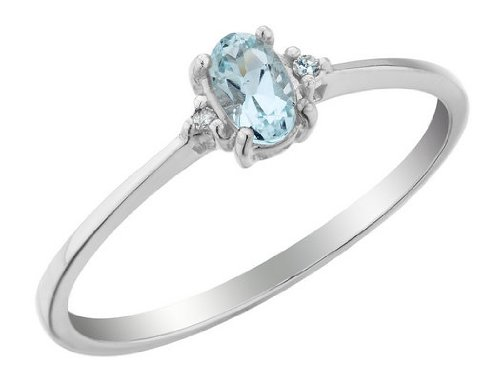 Aquamarine Ring with Diamonds 1/4 Carat (ctw) in 10K White Gold