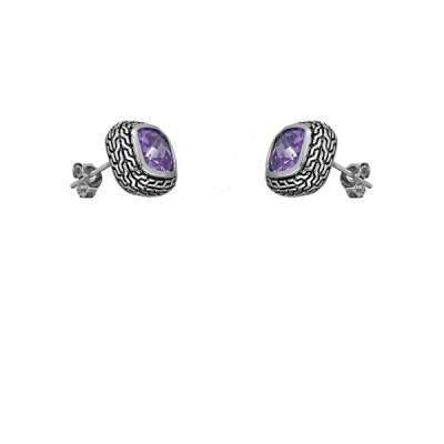 Fine Jewelry Sterling Silver Earrings Center Square Amethyst CZ and Black Finish Design (WoW !With Purchase Over $50 Receive A Marcrame Bracelet Free)