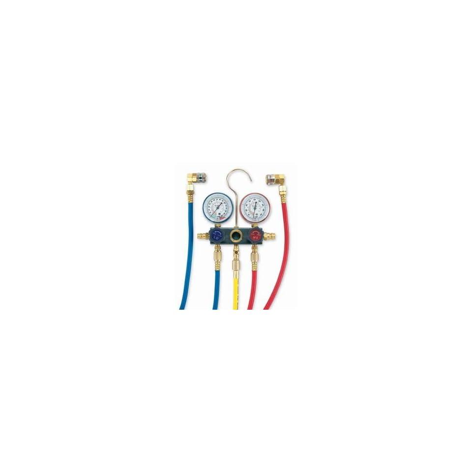 FJC 6761 R134a Aluminum Block Manifold Gauge Set With Quick Couplers  72 Hose Set Length
