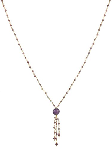 Amethyst Bead, Purple AB Swarovski Elements and Gold Plated Sterling Silver Chain Necklace,18