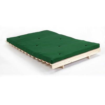 Grün Premier Baumwolltwill Futon Doppel 140cm Holz Basis Holzrahmen with 3 Sitzer Matratzen Set Sofabett von Changing Sofas - Gartenmöbel von Du und Dein Garten