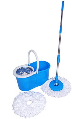 "A TO Z SALES Magic Spin Mop 360° Rotating Pole & Bucket ""No Foot Pedal"" with 2 Microfiber Heads and stainless steel dryer (Random color) …"