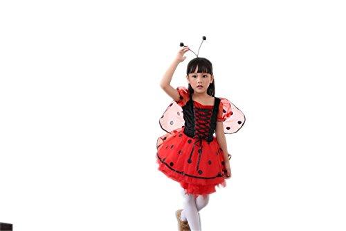 [Biotumecos Girls Beetles Cosplay Costume Kids Party Dress Ra-ra Skirt With Wings Medium] (Beetle Wings Costume)