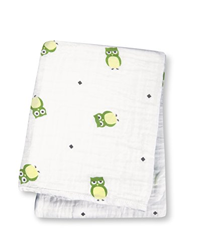 "Lulujo Baby Muslin Cotton Swaddling Blanket, Owl Always Love You, 47"" x 47"""