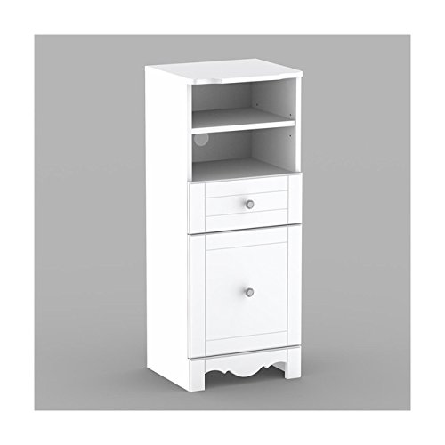 38 Inch White Lacquer Bookcase Tower