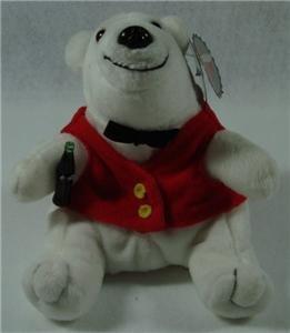 Coca-Cola Bean Bag Plush White Bear in a Red Vest